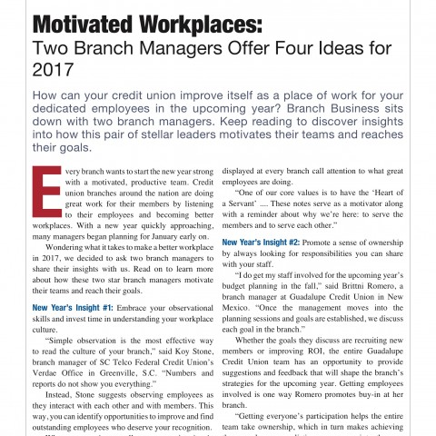 "Magazine Column: ""Two Branch Managers Offer Four Ideas for 2017"""