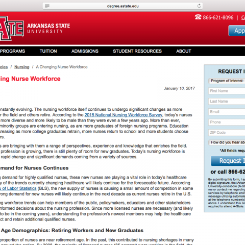 "Article: ""A Changing Nurse Workforce"""