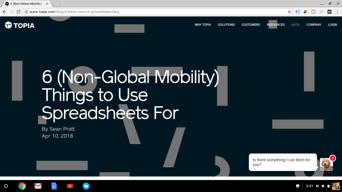 Blog Post: 6 (Non-Global Mobility) Things to Use Spreadsheets For